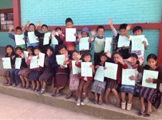 Preschool Children with BB Inc. Workbook in Panajachel, Guatemala